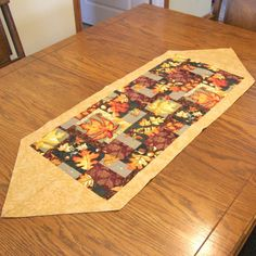 Gold Fall Table Runner with Leaves by threadsandthings1 on Etsy, $10.00