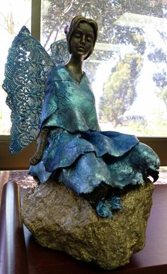Shaylah's Blue Fairy, made with powertex, stoneart clay with lace wings.