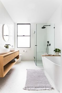 clean, minimal bathroom inspiration // black framed windows and class with white. - clean, minimal bathroom inspiration // black framed windows and class with white walls and warm woo - Laundry In Bathroom, Bathroom Renos, Remodel Bathroom, Gold Bathroom, Bathroom Renovations, Bathroom Vanities, Bathroom Cabinets, Master Bathroom, Mosaic Bathroom