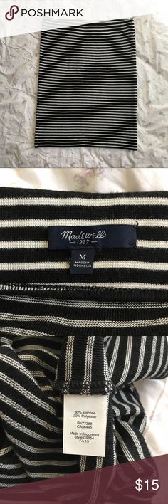 Madewell striped tube skirt Black and white striped tube skirt from Madewell. Hardly worn, in excellent condition. A fitted medium, but the more substantial knit fabric keeps it more modest. Madewell Skirts