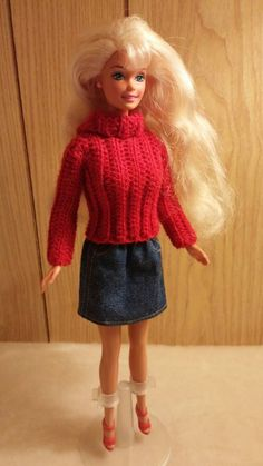 Red turtleneck and denim skirt for Barbie with shoes