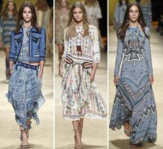 SS15 Etro - Native American silhouettes with flowing layers accessorized with feather necklaces, beads, textural vests