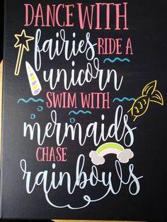 Fairies / Unicorns / Mermaids / Rainbow Wall Decor / Girls Room Decor / Unicorn Sign / Mermaid Sign / Fairy Sign / Chase Rainbows / Bedroom Sign Decor / Swim With Mermaids / Ride A Unicorn / Fun Wall Sign ~*SIGN INFO*~ Different canvas sizes available! Unicorn Rooms, Unicorn Bedroom, Mermaid Bedroom, Fairy Bedroom, Unicorn Decor, Rainbow Bedroom, Rainbow Wall, Mermaid Sign, Unicorns And Mermaids