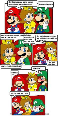 Why mario went alone Super Mario And Luigi, Super Mario Art, Super Mario Brothers, Mario Bros., Mario Kart, Mario Funny, Mario Memes, Luigi And Daisy, Mario Comics
