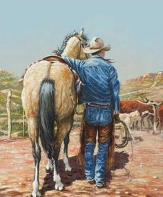 Come browse Texas fine art prints, cowboy sculpture and framed western wall art at our online art gallery that helps you celebrate Texas art! Cowgirl And Horse, Cowboy Art, Artwork Pictures, Pictures To Draw, Photos, Farm Paintings, Horse Anatomy, Horse Artwork, West Art