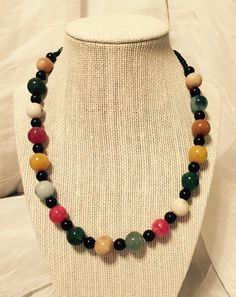 """19"""" Multicolored Stone Necklace by JCCUSTOMSDESIGNS on Etsy"""