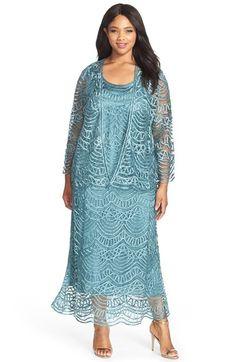Plus Size Glittery Lilac Georgette Jacket Dress Mother Bride ...