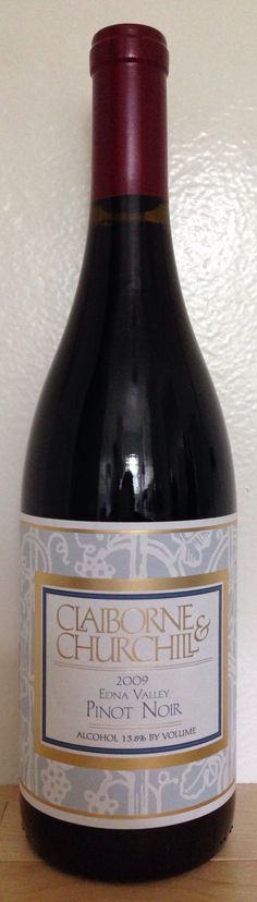 2009 Claiborne & Churchill Pinot Noir. This is a smooth and aromatic wine made from grapes grown in select neighboring vineyards in the Edna Valley. Reflecting the cool maritime climate of California's Central Coast, this wine offers fruit flavors that make Pinot Noir such a welcome addition to the dinner table.