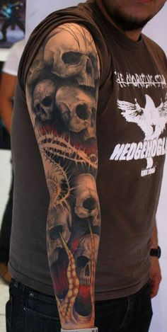Interest tattoo ideas and design - Grey Ink Pile Of Skull Tattoos On Arm. If you want to make a tattoo, look how it looks from other people!