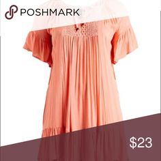 Peach Lace-Insert Babydoll Dress - Plus 2x PRODUCT DESCRIPTION:  This fancy-free babydoll dress demands attention with a flowy fit and ruffle-ready design. A chic tie-neck and flirty touch of lace finish off the ensemble with feminine flair.  Size 2X: 39'' long from high point of shoulder to hem 100% rayon Hand wash; hang dry Imported alisha & chloe Dresses High Low