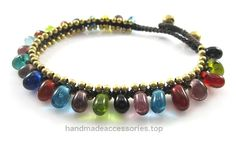 MGD, Multicolor Glass Beads with Golden Beads and Brass Bell Anklet. Beautiful Handmade Anklet Made From Wax Cord Fashion Jewelry for Women, Teens and Girls., JB-0132A  Check It Out Now     $12.99    Handmade Product, slightly variations in Colours, Sizes
