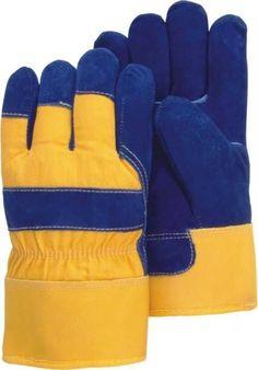 Majestic 1600W Split Cowhide Leather Work Gloves Waterproof Bladder Pile Lined Blue/Yellow (DOZEN)