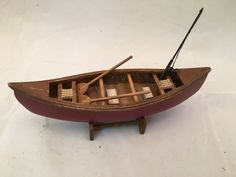 Vintage Miniature Wooden Canoe with Paddles and fishing pole cottage cabin lake