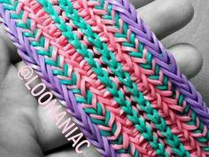 Split Tire Track Bracelet On Rainbow Loom Rainbow Loom Princess, Rainbow Loom Bands, Rainbow Loom Bracelets, Rainbow Loom Patterns, Bead Loom Patterns, Loombands Tutorial, Loom Band Bracelets, Tire Tracks, Loom Craft