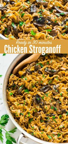 Enjoy this quick, easy, and delicious One Pot Creamy Chicken Stroganoff! A healthy, homemade version of everyone's favorite comfort food. Ready in 30 minutes! Quick Recipes, Healthy Recipes, Chicken Stroganoff, Greek Yogurt Recipes, Incredible Recipes, Easy Healthy Dinners, Creamy Chicken, One Pot Meals, Dinner Recipes