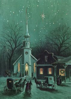 STARs shine over a snowy village as horse-'n-buggy residents gather at church on a snowy, glowy Christmas Eve. - vintage card