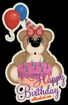 Teddy With Cake - Happy Birthday Send Birthday Card, Happy Birthday Tag, Happy Birthday Celebration, Birthday Weekend, Happy Birthday Greetings, Happy Birthday Gif Images, Happy Birthday Animals, Hippie Birthday, Birthday Blessings