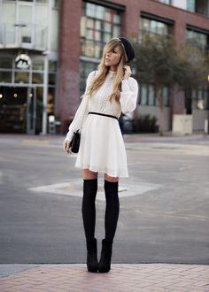 Vintage Hat, Dolce Vita Dress, Chanel Bag, American Apparel Socks, Dolce Vita Boots
