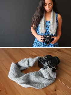 Use an old scarf for a custom camera strap. Easy and cute!