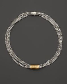 John Hardy Bedeg 18K Gold and Sterling Silver Slide Enhancer on Triple Chain Necklace, 18