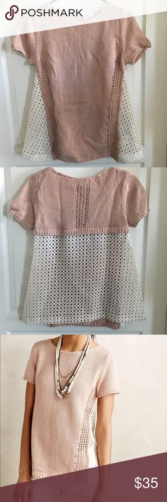 Anthropologie Madeira Eyelet Back Pullover Sz S Dusty rose sweater with eyelet back. Cotton, polyamide lace trim. Still in excellent condition. Brand is Moth. No trades or PayPal. Anthropologie Sweaters