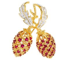 Jackie Kennedy Berry Pin  24K Gold Plated with Stones Box