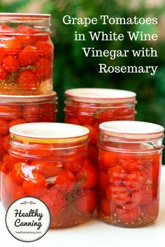 These grape tomatoes pickled in white wine vinegar, paired with crunchy lettuce and chunks of salty feta cheese, will make you think you& having a high summer meal in mid-winter. Pickled Tomatoes, Canning Tomatoes, Grape Tomato Recipes, Pickled Cherries, Canning Pickles, Relish Trays, White Wine Vinegar, Canning Recipes, Canning Tips