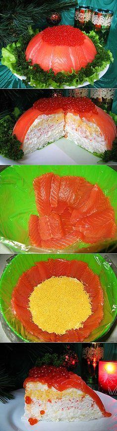 Рыбный закусочный торт «Рыбацкая удача». | идеи для дома | Постила
