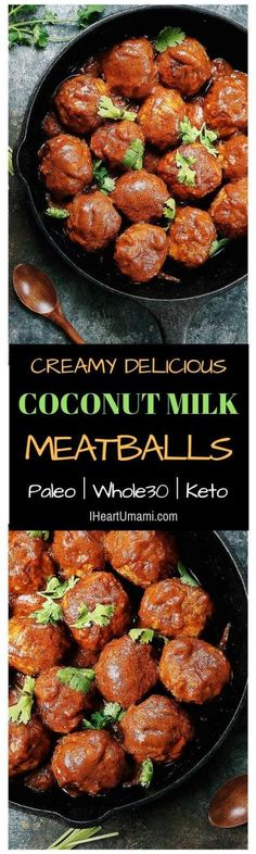 Creamy Paleo Coconut Milk Meatballs that are gluten dairy free and Whole30 keto friendly. These meatballs are rich, savory, and creamy delicious. They're great for batch cooking and make ahead meals. Follow the link to enjoy these yummy meatballs! #meatballs #glutenfreemeatballs #creamy #ketomeatballs #Whole30meatballs