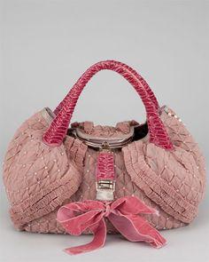 FENDI Pink Tulle & Lizard Spy Bag. Velvet ribbon. Vintage Purses, Vintage Handbags, Buy Bags, Pink Tulle, Velvet Ribbon, Shopper Tote, Boutique, Baguette, Satchels