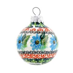 Polish Pottery Handmade 2.5'' Round Holiday Ornament Floral Pattern CO-30
