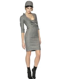 PRINCE OF WALES CHECK STRETCH WOOL DRESS
