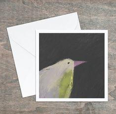 """Carte de souhaits """"Oiseau vert rose lilas gris"""". Dessin original. 5,25 x 5,25, intérieur blanc. Carton satiné, qualité. Enveloppe comprise. Etsy, Gray, Custom Map, Greeting Cards, Envelope, Impressionism, Graphic Design, Toile, Artist"""