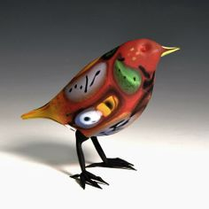 "Shane Fero (Glass sculptures) ""Red-Headed Abstract Bird"""