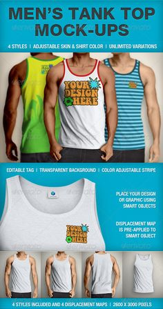 Tank Top Mockup Men's by Mens Tank Top Mock-up Create your own designs and show them off with a quality looking Tank Top mock-up. Customizable Shirts, Mockup Templates, Letter Templates, Red Tank Tops, Shirt Mockup, Colorful Shirts, 3 D, Tank Man, Free