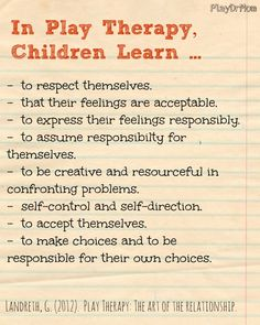 in play therapy, children learn ...