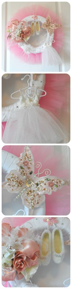 Pink Ballet Wreath for the budding dancer in your life.  Makes a great gift!