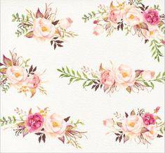 Romantische Blüten Aquarell Clip Art/Rose/einzelne  Sind eigentlich dir gleichen wie die aus der US mit text