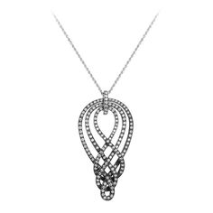 Damiani Woven Diamond White Gold Pendant Necklace | From a unique collection of vintage necklace enhancers at https://www.1stdibs.com/jewelry/necklaces/necklace-enhancers/