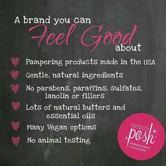 You can feel great about using Perfectly Posh for many reasons! These are just a few!!!  https://medinaposh.po.sh