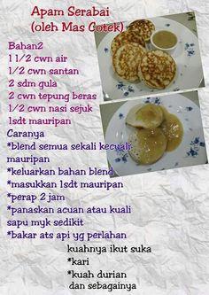 Apam serabai Malaysian Dessert, Malaysian Food, Cake Recipes, Snack Recipes, Cooking Recipes, Indian Food Recipes, Asian Recipes, Malay Food, Cooking Measurements
