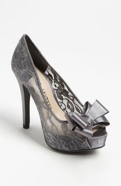 Nordstrom Chinese Laundry 'Hopeful' Pump in either Grey Lace with A Grey Ribbon Bow or Black with a Black Ribbon Bow.