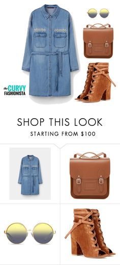 The Denim Shirtdress by thecurvyfashionista on Polyvore featuring Violeta by Mango, Gianvito Rossi, The Cambridge Satchel Company and Matthew Williamson