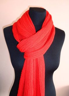 Orans Red Long Scarf    Icelandic Production by HuldaGK on Etsy