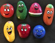 Produce Pals Painted Rocks --Fruit and Vegetable Smiley Face.-Produce Pals Painted Rocks –Fruit and Vegetable Smiley Faces Story Stones– Toy & Play Set– Party Favors, Kids Gift Set: 7 Produce Pals Fruit & Vegetable Smiley Faces Painted - Rock Painting Ideas Easy, Rock Painting Designs, Painting For Kids, Paint Designs, Paint Ideas, Pebble Painting, Pebble Art, Stone Painting, Fruit Painting