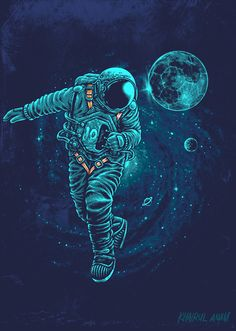 Art of Khairul Anam: Photo Space Artwork, Wallpaper Space, Galaxy Wallpaper, Cool Wallpaper, Astronaut Illustration, Space Illustration, Fantasy Magic, Astronaut Wallpaper, Art Watercolor