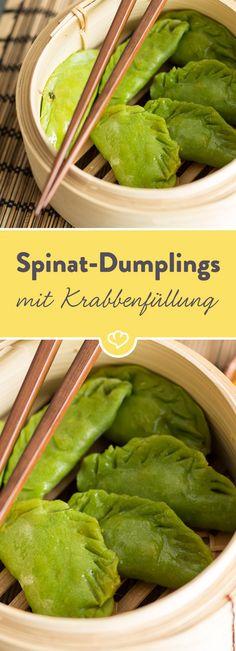 Diese selbstgemachten Dumplings sind jede Mühe wert. Würzig gefüllte Spinat-Teigtaschen - was will man mehr?