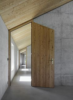*modern interiors concrete and wood doors entrances minimalism architecture* - House D / HHF Architects Architecture Details, Interior Architecture, Interior And Exterior, Installation Architecture, Interior Office, Building Architecture, Interior Doors, Rustic Exterior, Home Design