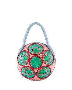 Saba Straw Circle Top Handle Bag by Sophie Anderson at Neiman Marcus. Calf Leather, Red Leather, Sophie Anderson, Gucci Bamboo, Blue Bags, Luxury Handbags, Saddle Bags, Leather Handbags, Neiman Marcus