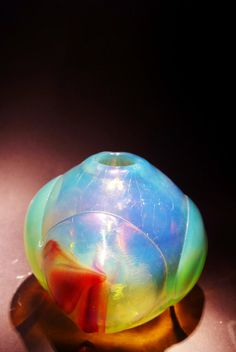 Dominick Labino 'Untitled' clear metalic vase